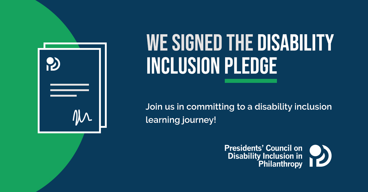 """Against a dark blue background with green accents, text reads: """"We signed the Disability Inclusion Pledge! Join us in committing to a disability inclusion learning journey."""" Accompanying the text is an illustration of a signed document and a logo."""