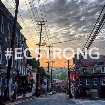 #ECSTRONG with view of Main Street Ellicott City at sunset