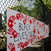 Artwork and protest signs adorn temporary fencing around the White House on June 9. (Katherine Frey/The Washington Post)